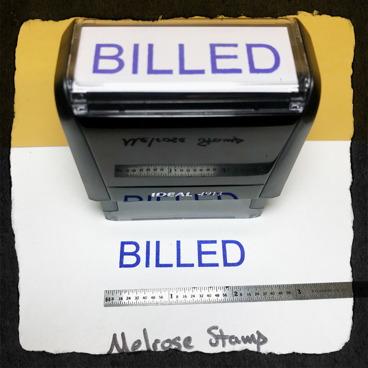 Billed Rubber Stamp Blue Ink Large