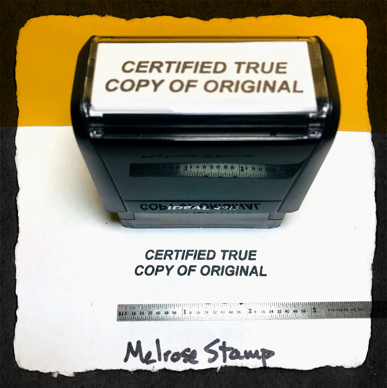 Certified True Copy Of Original Stamp Black Ink Large