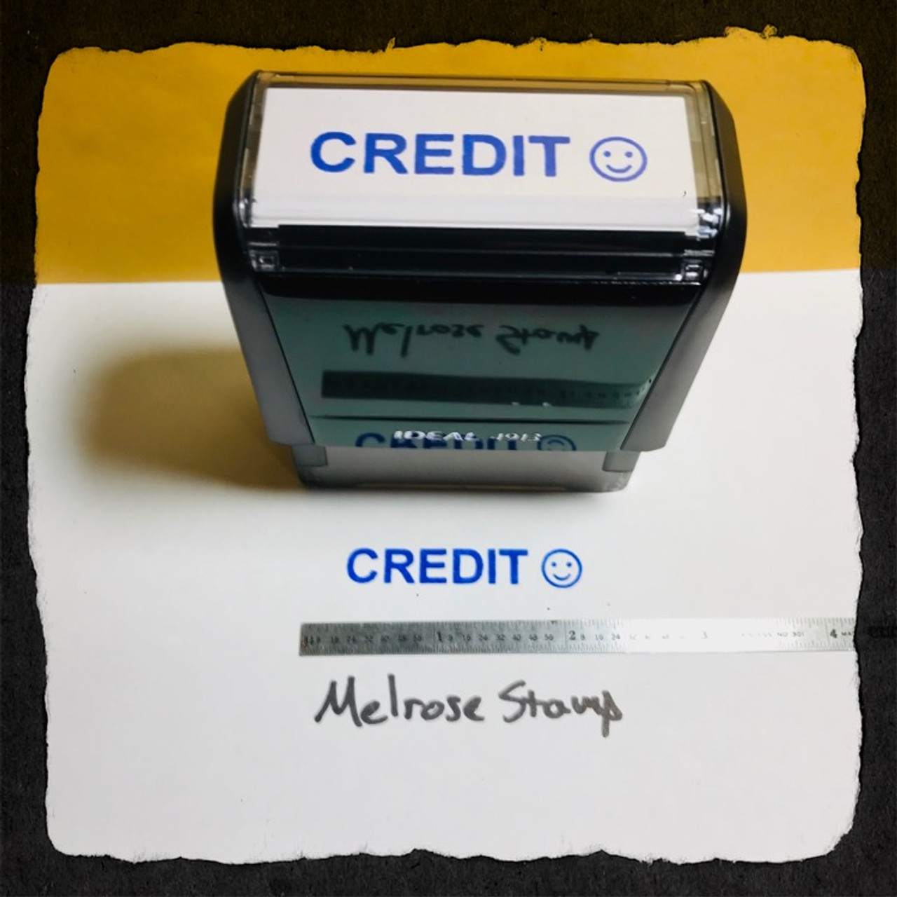 Credit Stamp Blue Ink Large