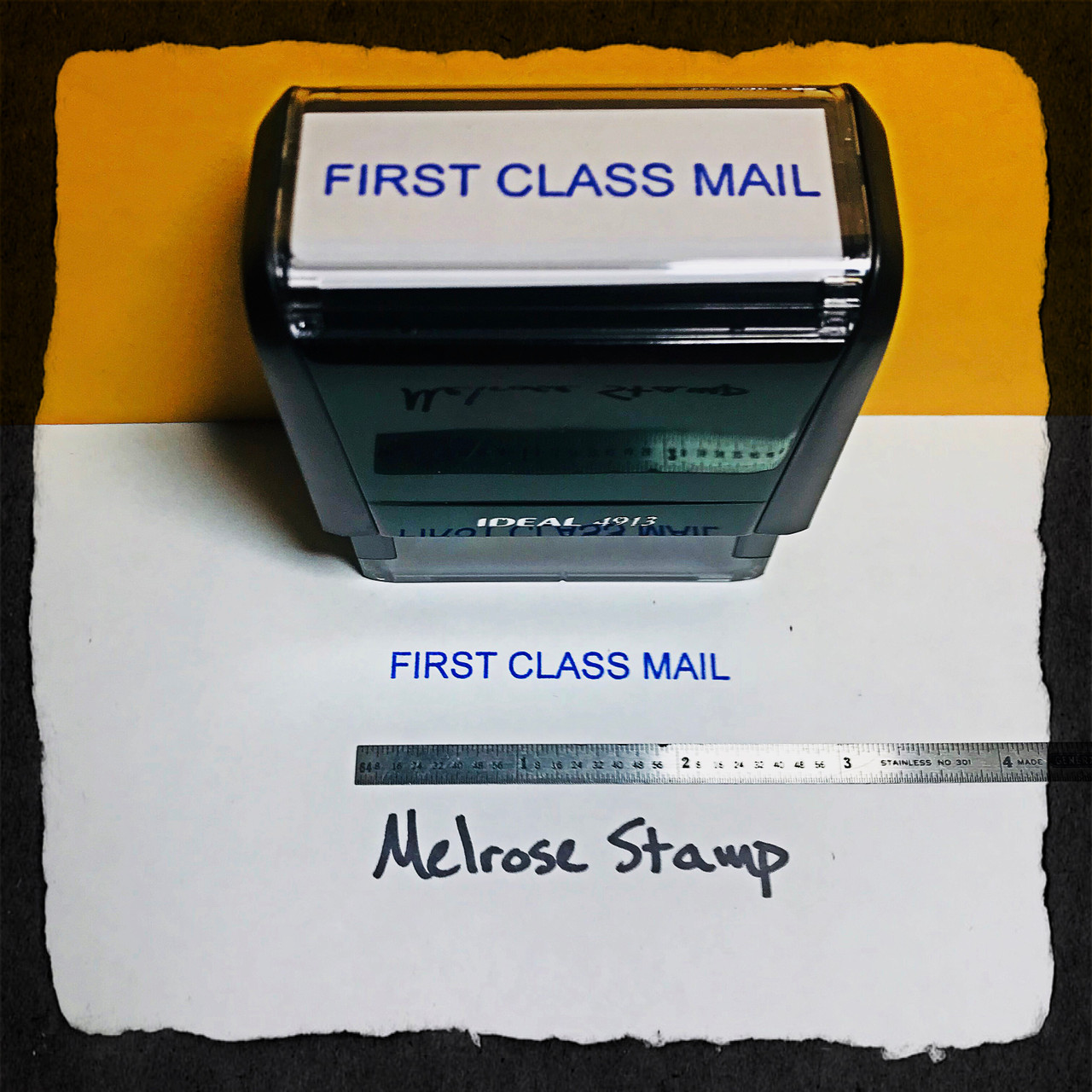 First Class Mail Rubber Stamp Blue Ink large