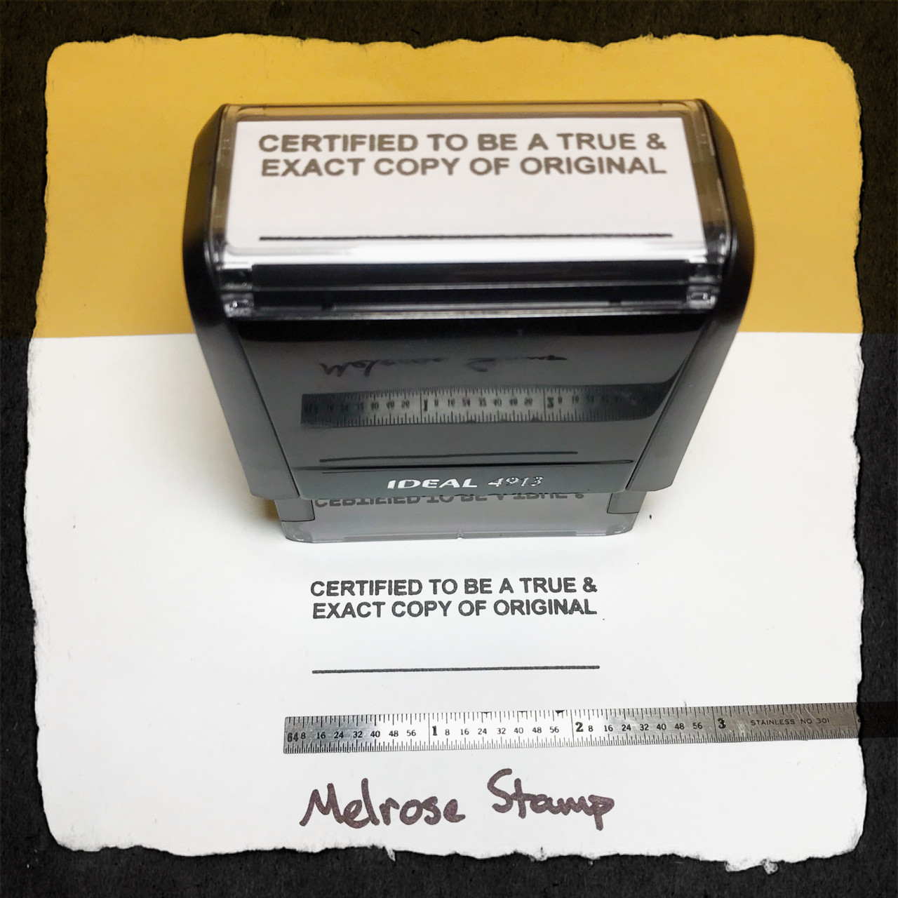 Certified To Be A True and Exact Copy Of The Original Stamp Black Ink Large