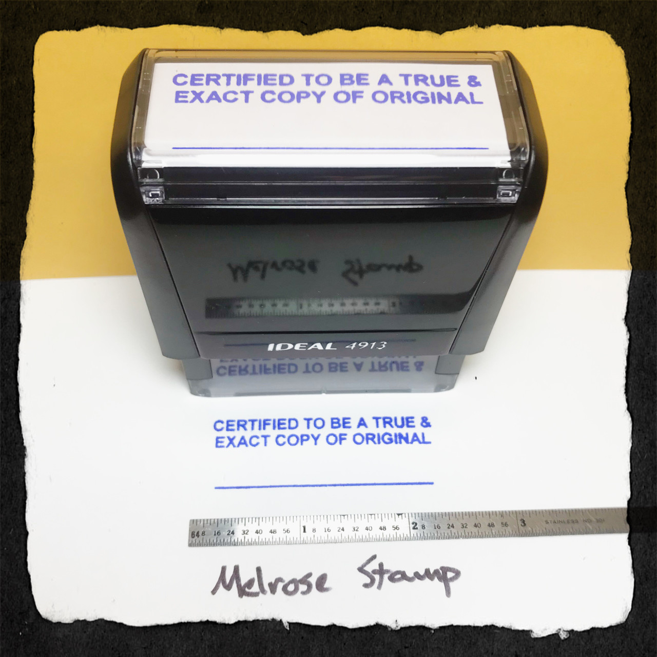 Certified To Be A True and Exact Copy Of The Original Stamp Blue Ink Large