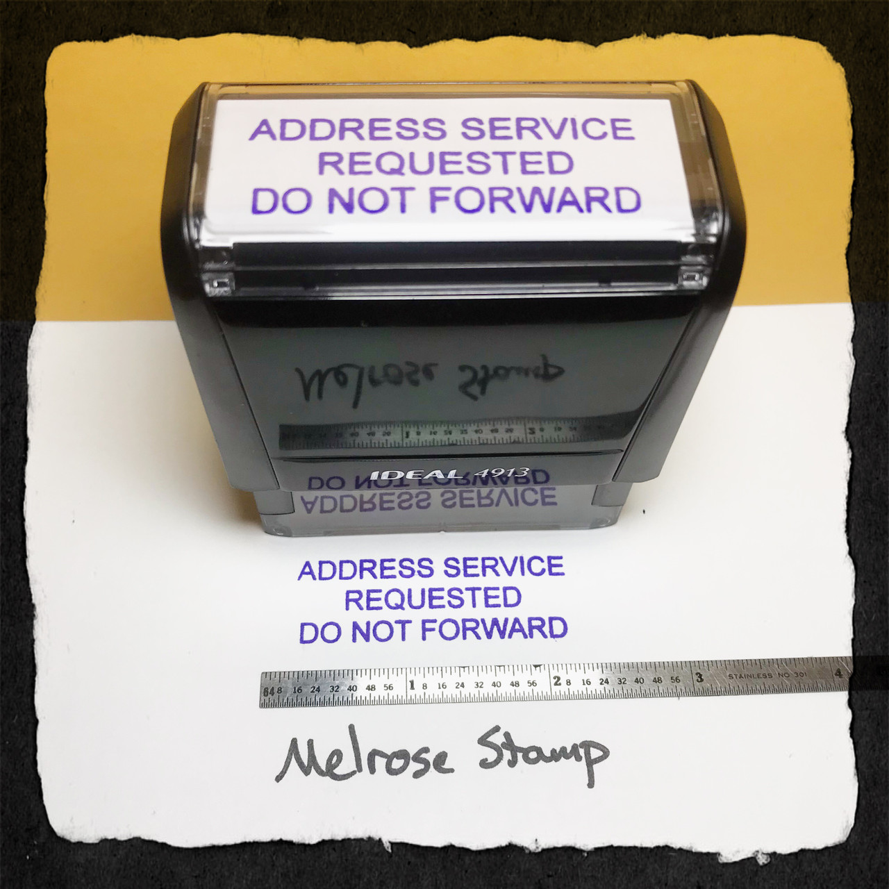Address Service Requested Do Not Forward Stamp Purple Ink Large
