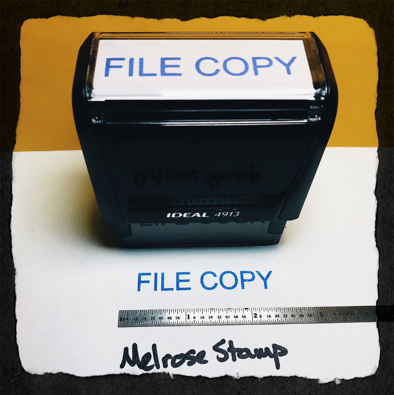File Copy Stamp Blue Ink Large