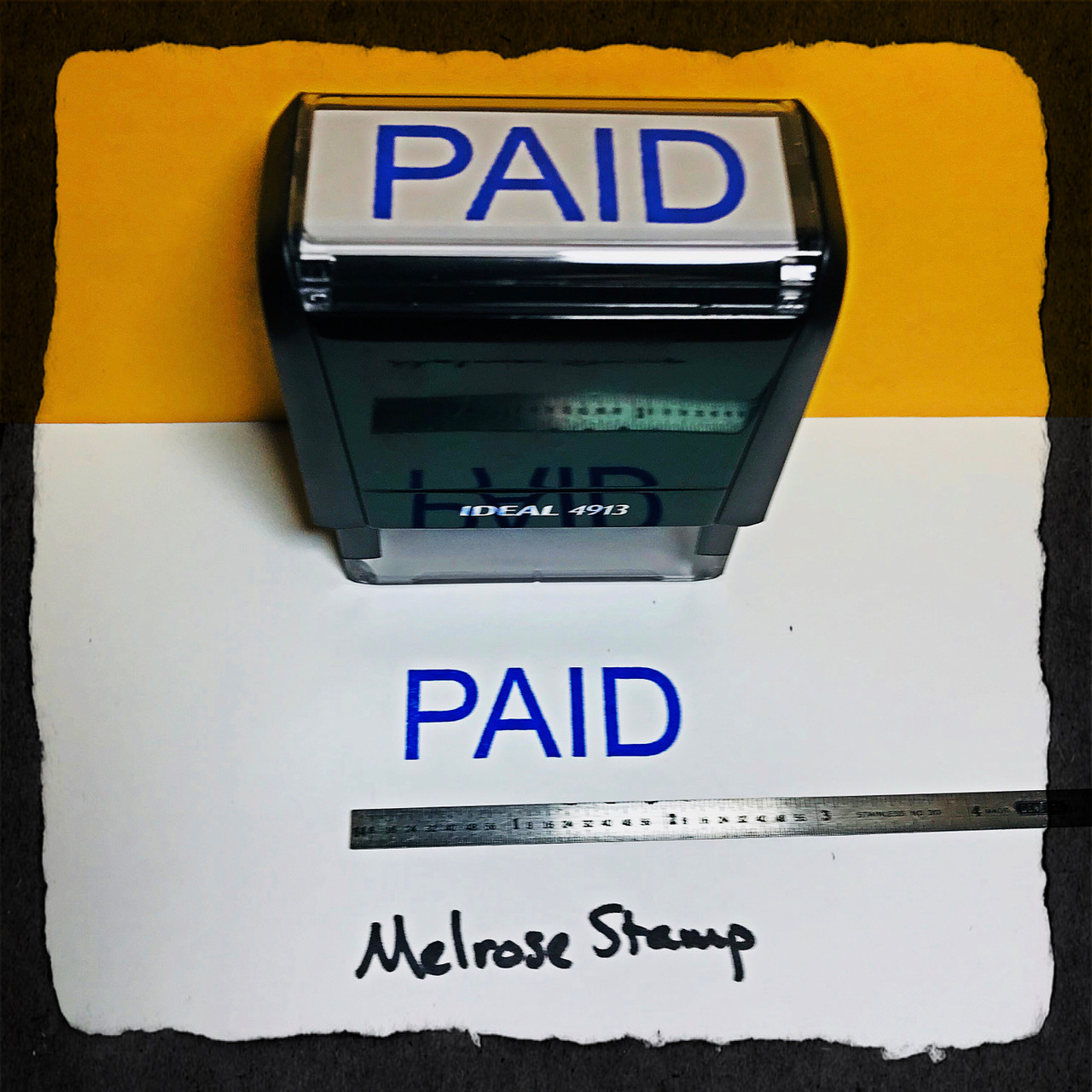 Paid Stamp Blue Ink Large