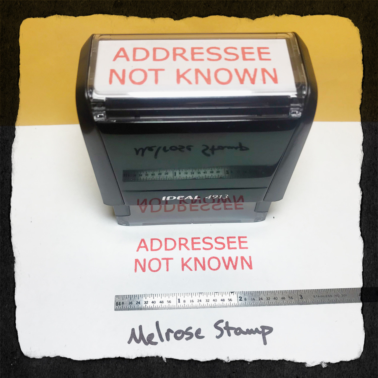 Addressee Not Known Stamp Red Ink Large