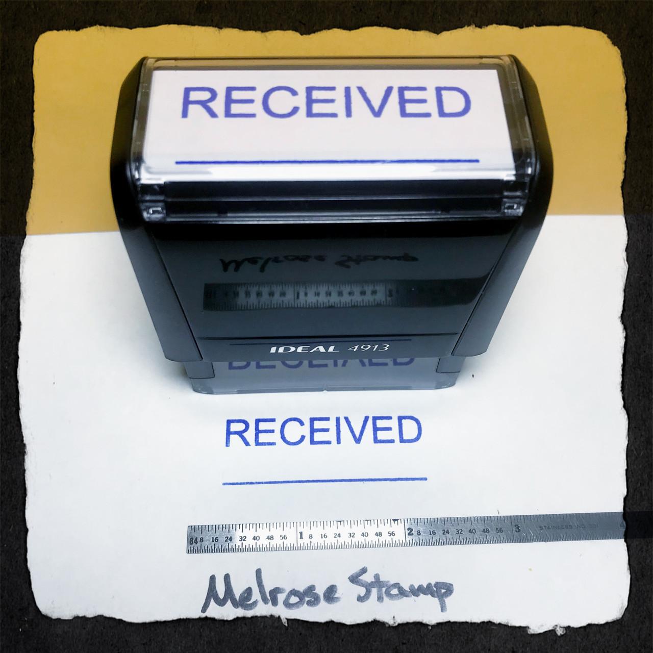 Received Stamp Blue Ink Large
