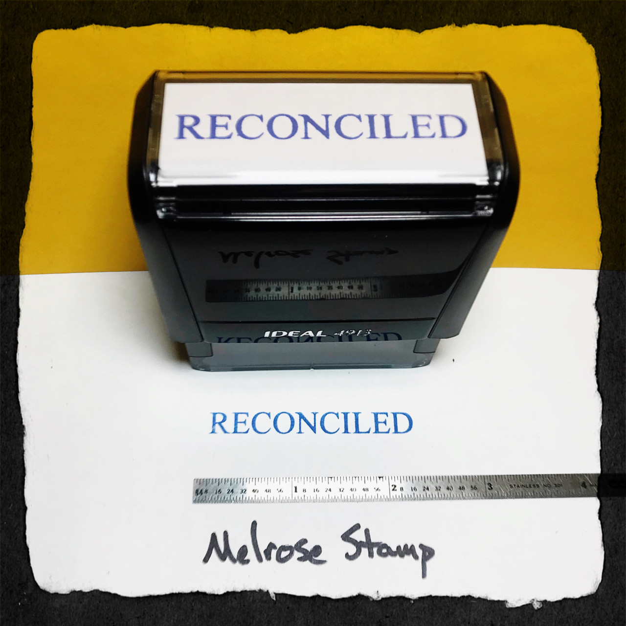 Reconciled Stamp Blue Ink Large