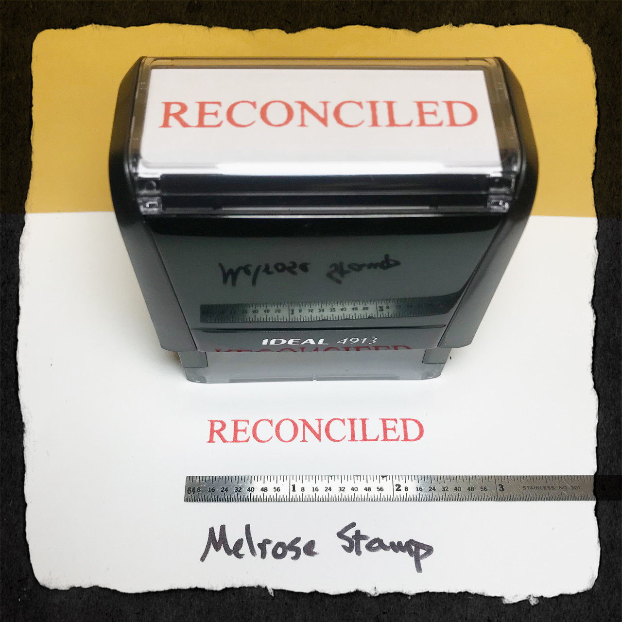 Reconciled Stamp Red Ink Large