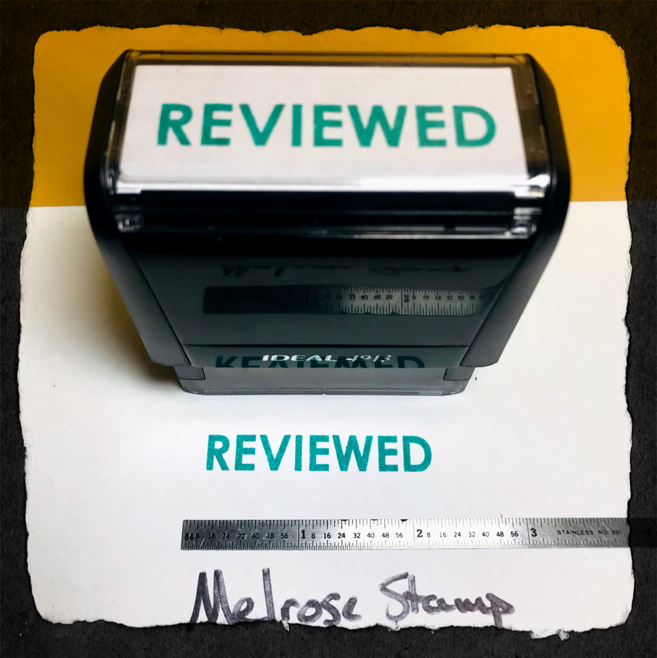 Reviewed Stamp Green Ink Large