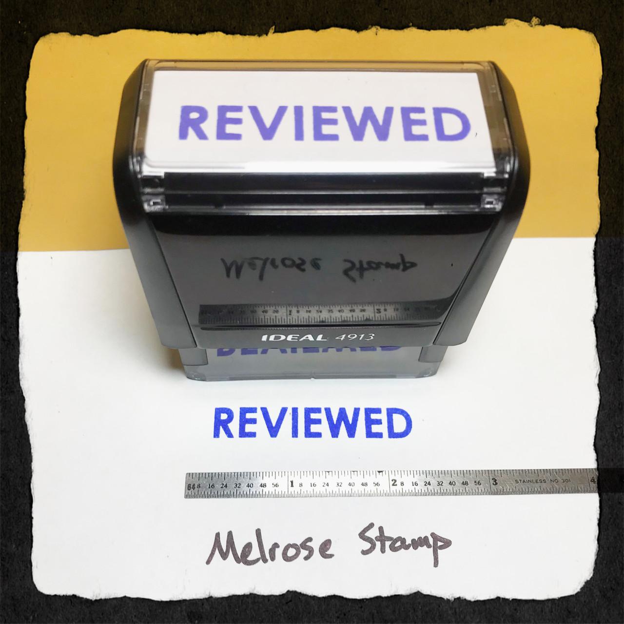 Reviewed Stamp Blue Ink Large