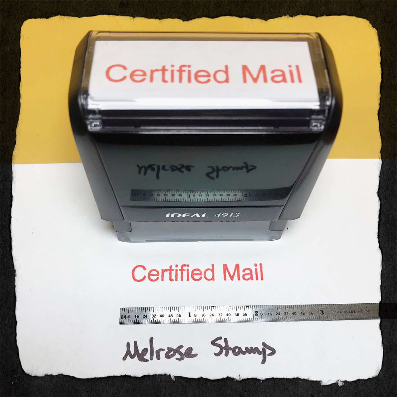 Certified Mail Stamp Red Ink Large