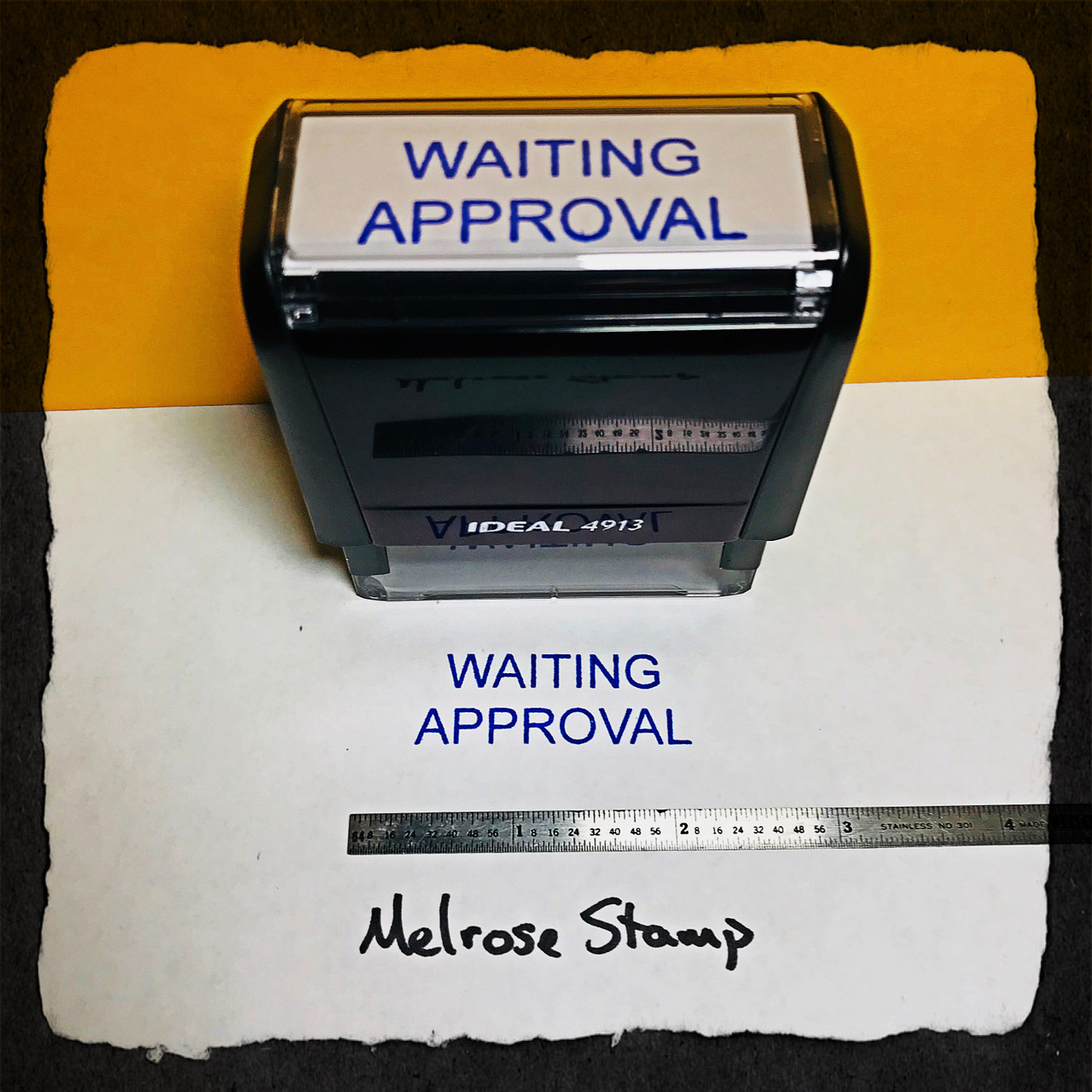 Waiting Approval Stamp Blue Ink Large