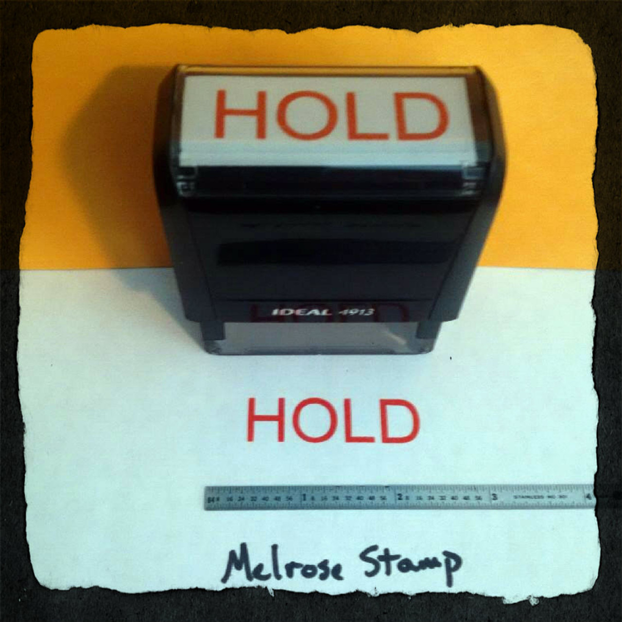 Hold Rubber Stamp Red Ink Large