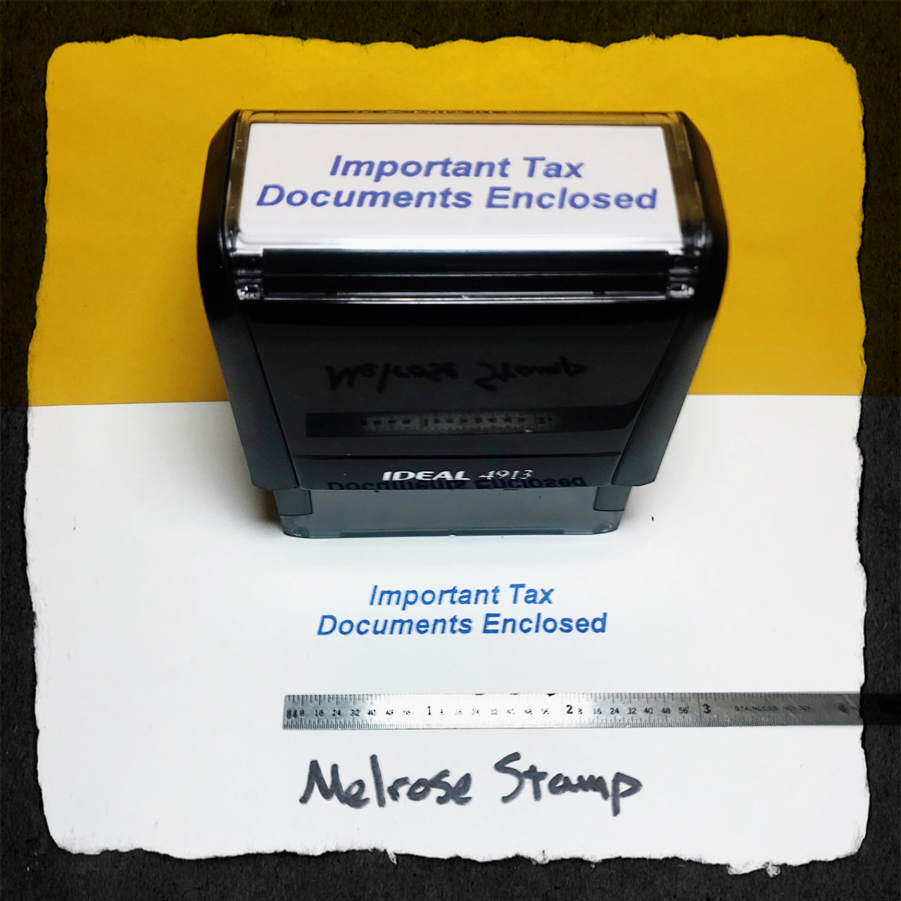 Important Tax Documents Enclosed Stamp Blue Ink Large