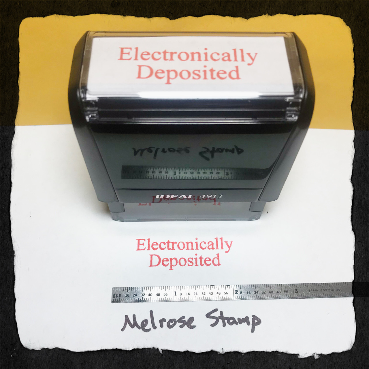 Electronically Deposited Stamp Red Ink Large