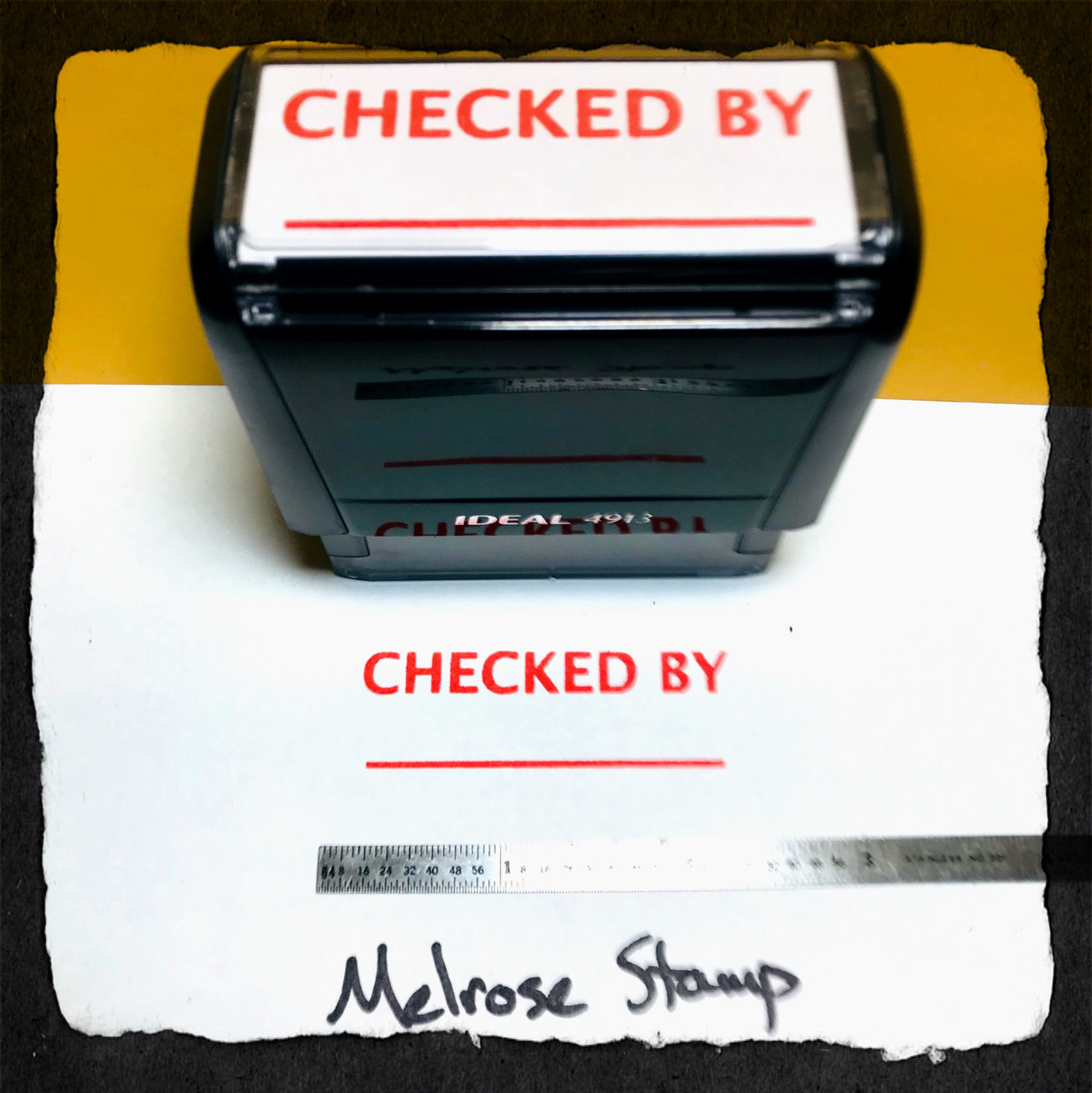 Checked By Stamp Red Ink Large