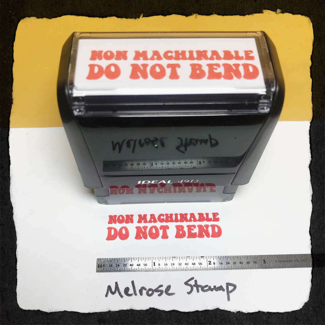 NonMachinable Do Not Bend Stamp Red Ink Large
