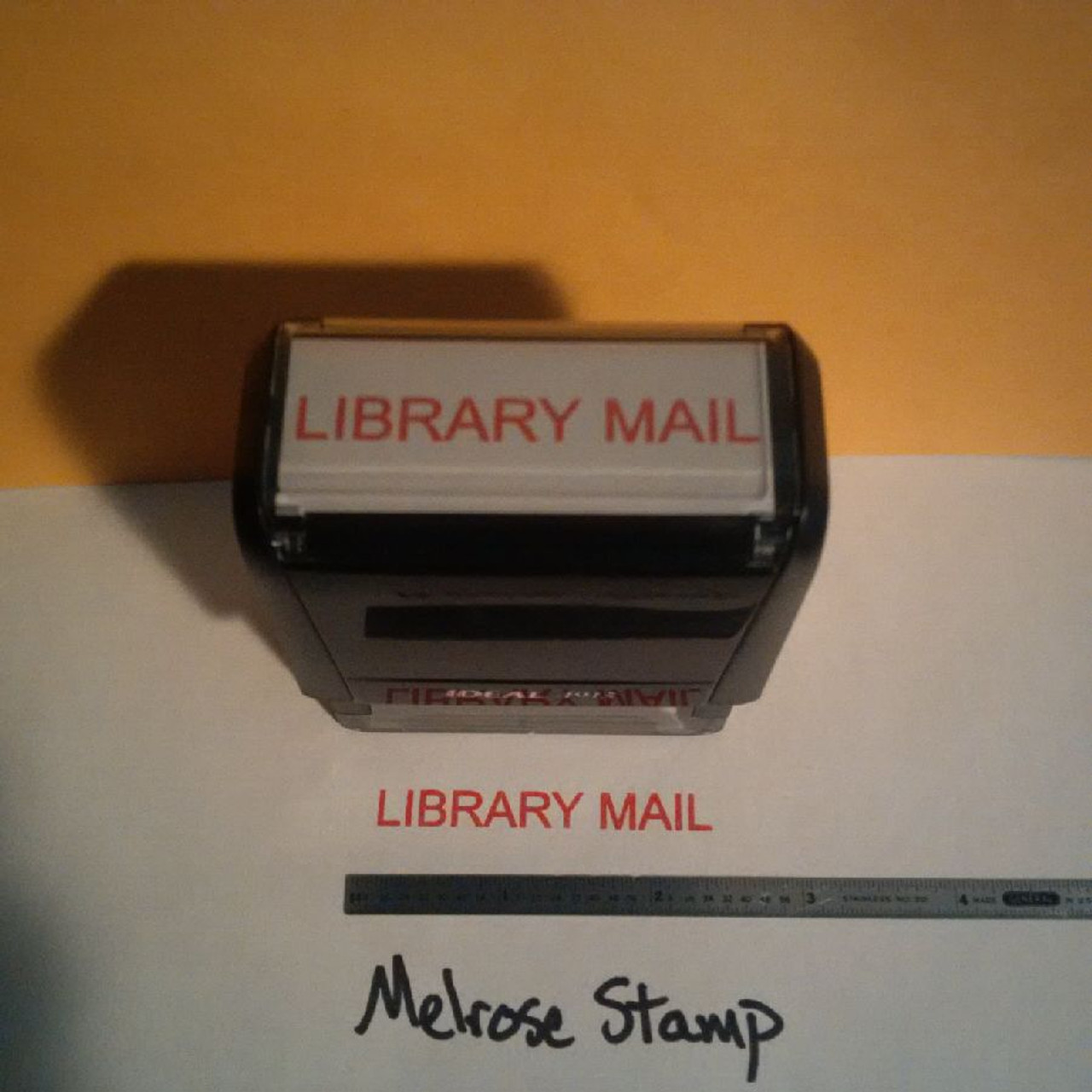 LIBRARY MAIL Rubber Stamp for mail use self-inking