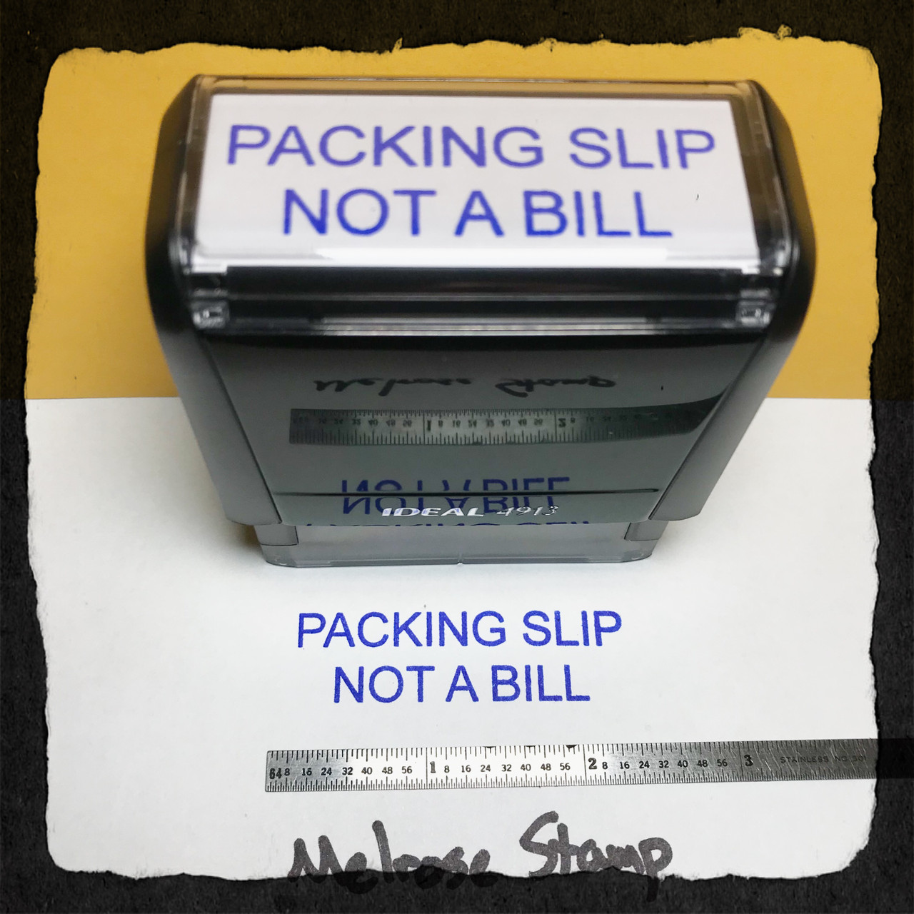 Packing Slip Not A Bill Stamp Blue Ink Large