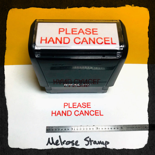 Please Hand Cancel Stamp Red Ink Large