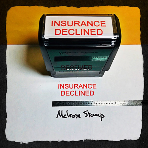 INSURANCE DECLINED Rubber Stamp for mail use self-inking