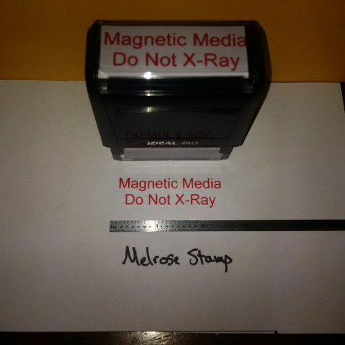 MAGNETIC MEDIA DO NOT X-RAY Rubber Stamp for mail use