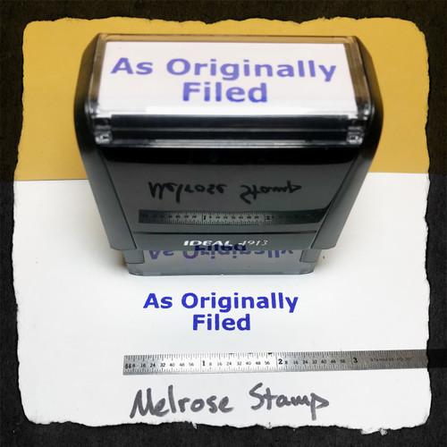 As Originally Filed Stamp Blue Ink Large