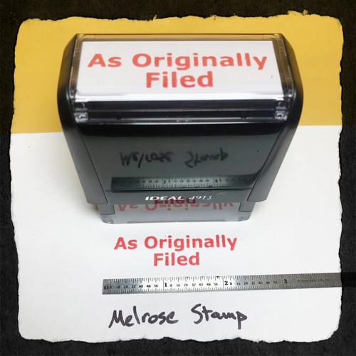 As Originally Filed Stamp Red Ink Large