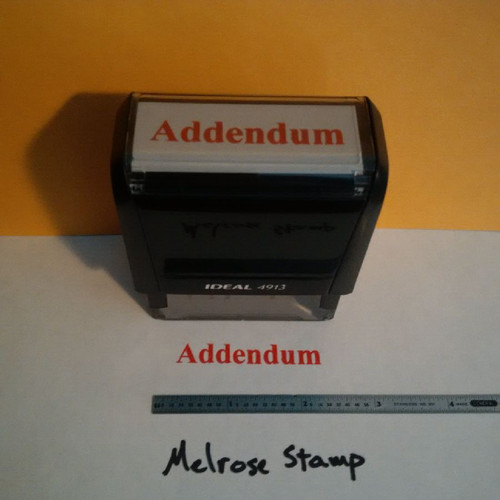 ADDENDUM Rubber Stamp for office use self-inking