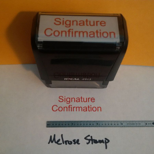 SIGNATURE CONFIRMATION Rubber Stamp for mail use self-inking