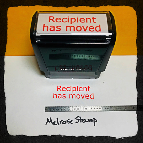 Recipient Has Moved Stamp Red Ink Large