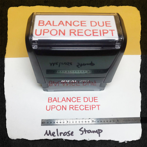 Balance Due Upon Receipt Stamp Red Ink Large