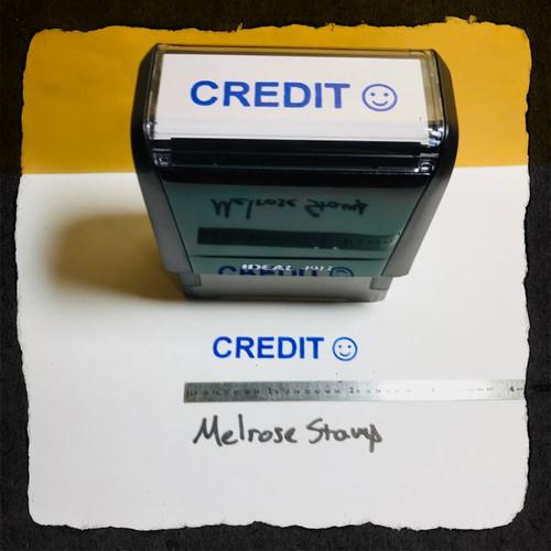Credit Stamp Blue Ink Large