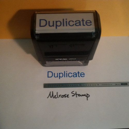 DUPLICATE Rubber Stamp for office use self-inking