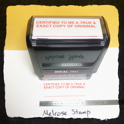 Certified To Be A True and Exact Copy Of The Original Stamp Red Ink Large