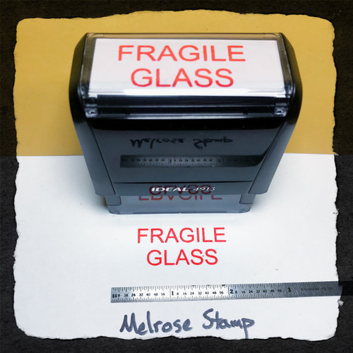 Fragile Glass Stamp Red Ink Large
