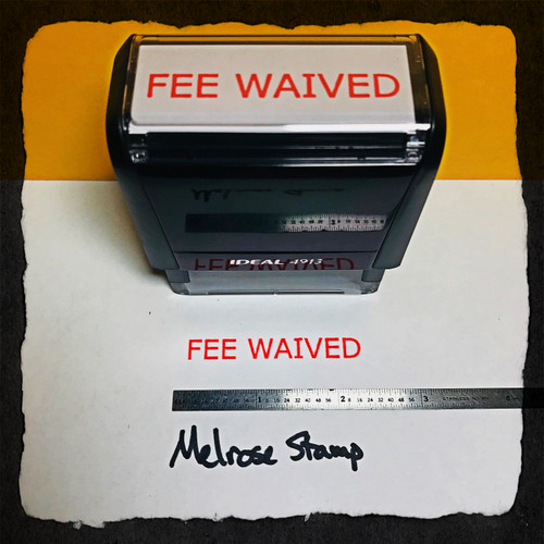 Fee Waived Stamp Red Ink Large