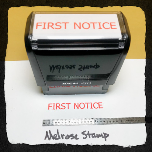 First Notice Stamp Red Ink Large