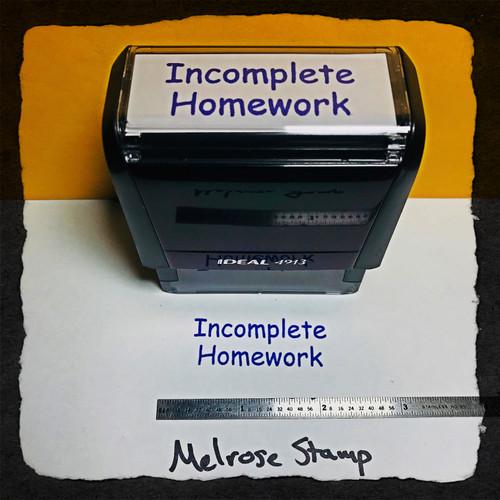 Incomplete Homework Stamp Purple Ink Large