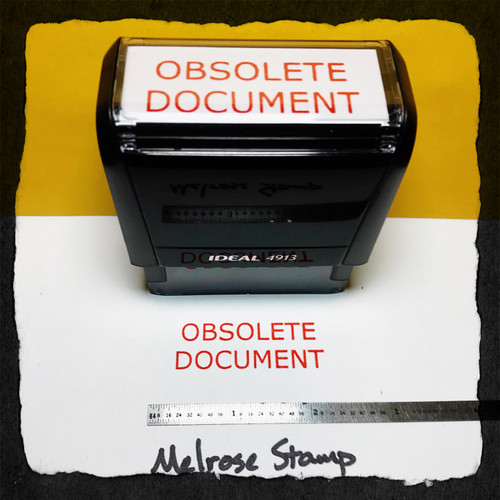 Obsolete Document Stamp Red Ink Large