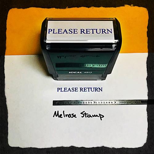 Please Return Stamp Blue Ink large