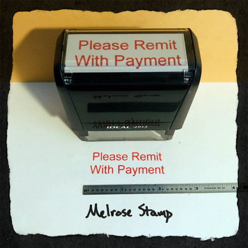 Please Remit With Payment Stamp Red Ink Large 2