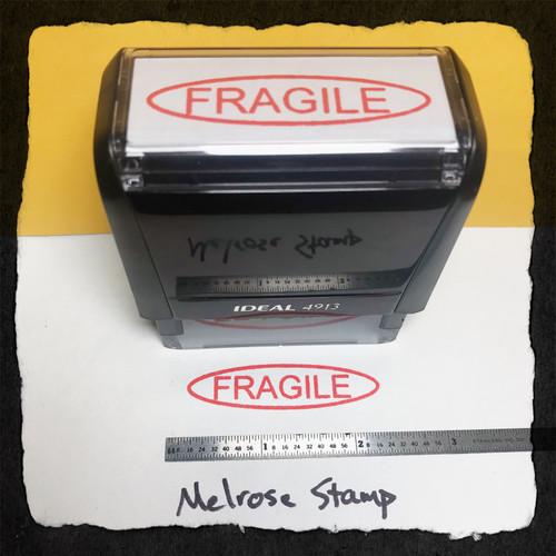 Fragile Stamp In Oval Stamp Red Ink Large