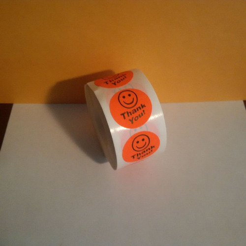 THANK YOU SMILEY LABELS Roll of 500 stickers for mail and retail use