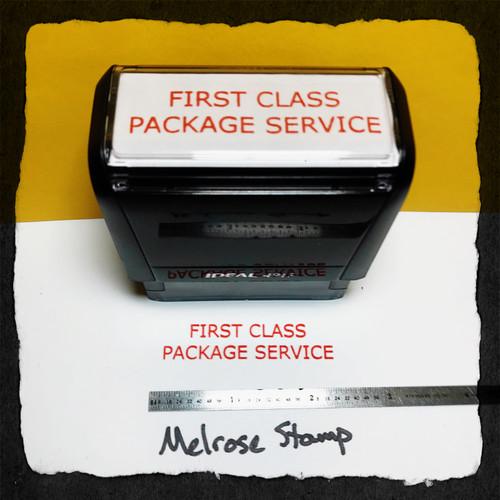 First Class Package Service Stamp Red Ink Large