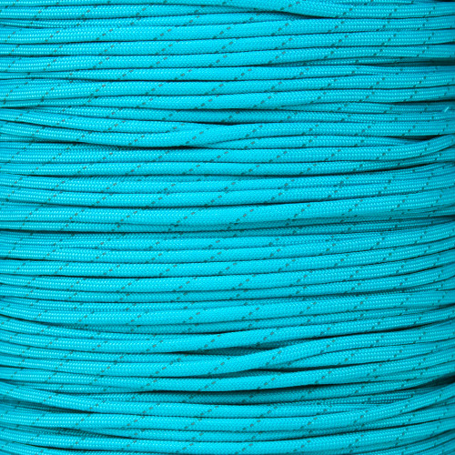 Neon Turquoise - 550 Paracord with Reflective Tracers