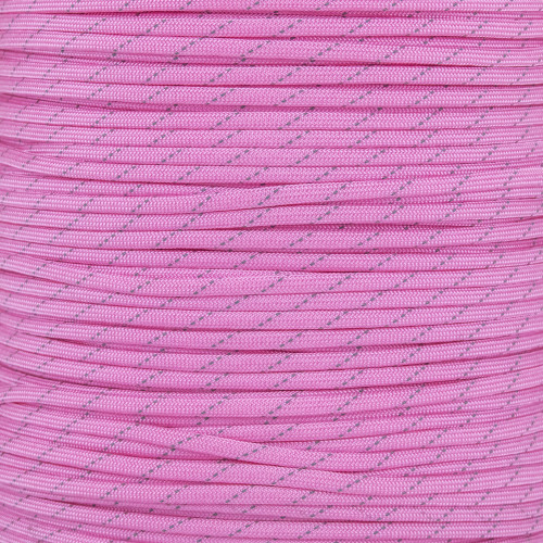 Rose Pink - 550 Paracord with Reflective Tracers