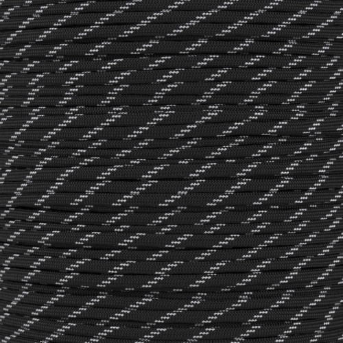 Black - 550 Paracord with Glow in the Dark Tracers