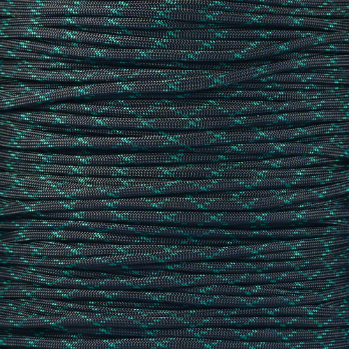 Black with Kelly Green X - 550 Paracord - 100 Feet